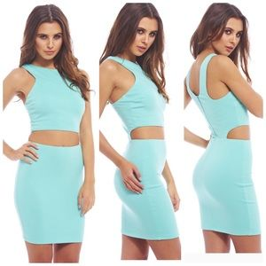 Two In One Sexy Cut Out Bodycon Aqua Dres